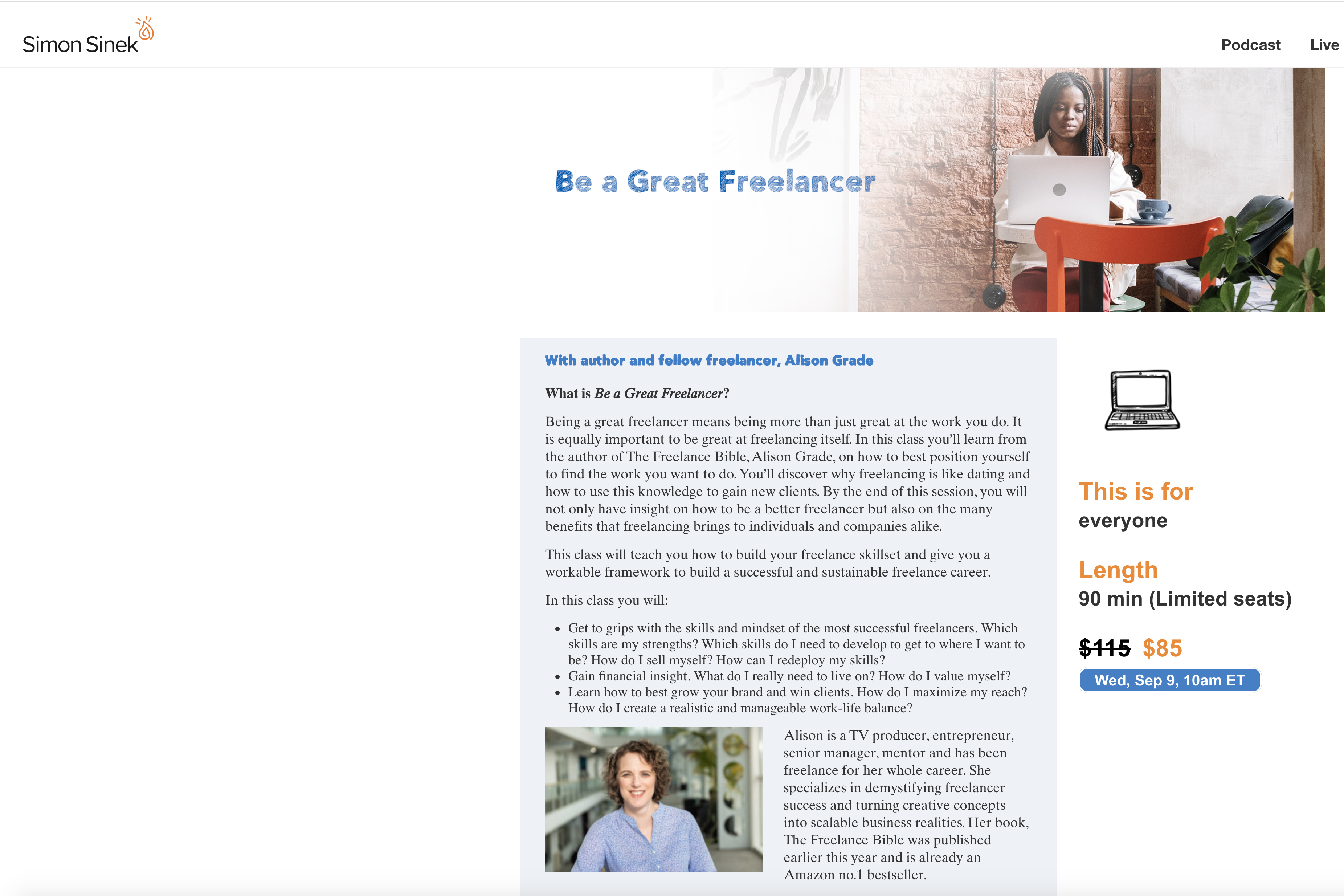 WHY... Yes! 'Be a great freelancer class' now live on simonsinek.com | 9th September 1